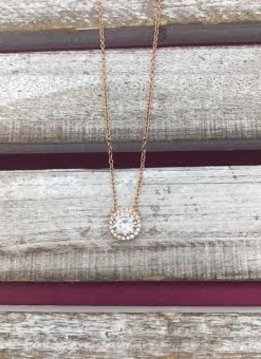 Sterling Silver Rose Gold Necklace with Cubic Zirconia