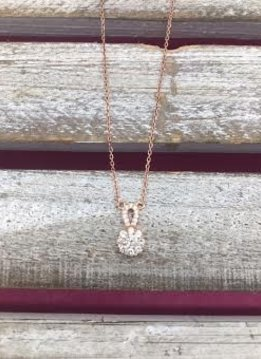 Sterling Silver Rose Gold Necklace with Drop Cubic Zirconia Pendant