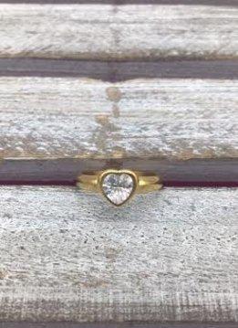 Stainless Steel Gold Bezel Heart Ring