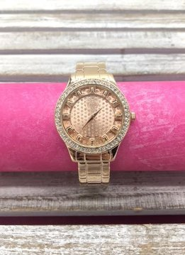 Rose Gold Glitter Dial Bangle Watch