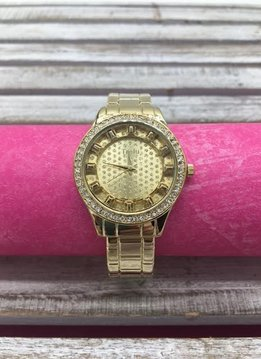 Gold Glitter Dial Bangle Watch