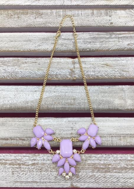 Lavender Gems Bib Necklace
