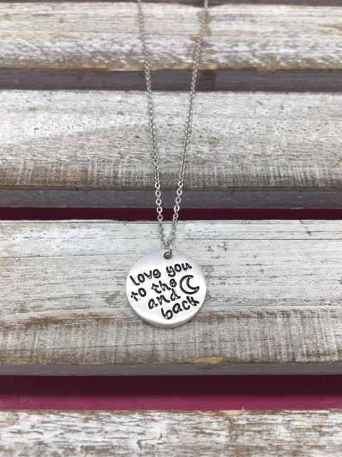 """Round Engraved Silver """"I Love You to The Moon and Back"""" Necklace"""