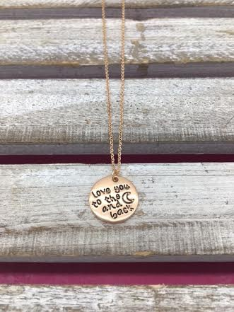 """Round Engraved Rose Gold """"I Love You to The Moon and Back"""" Necklace"""