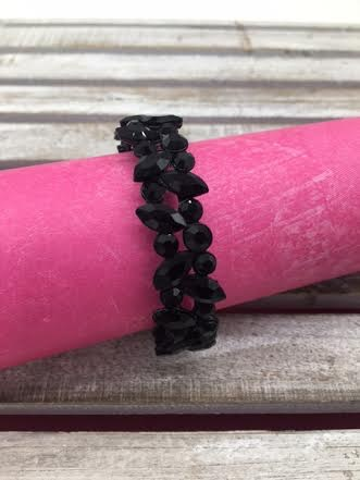 Marquise and Round Solid Black Crystals Stretch Bracelet