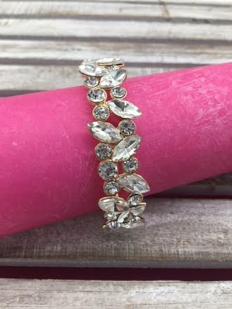 Marquise and Round Clear Crystals on Gold Stretch Bracelet