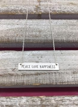 Peace Love Happiness Silver Bar Necklace