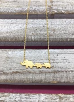 Gold Mini Elephant Family Necklace