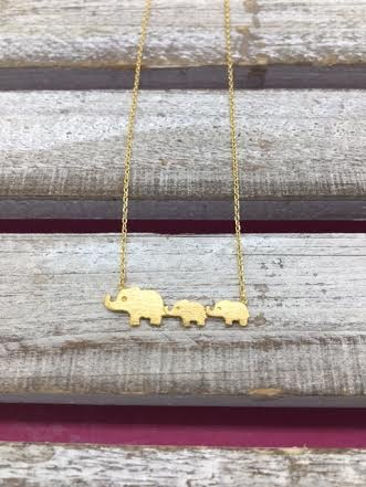 Gold Mini Elephant Family Necklace