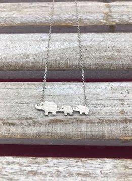 Silver Mini Elephant Family Necklace