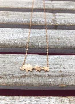 Rose Gold Mini Elephant Family Necklace