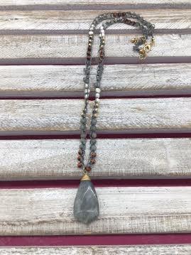 Semi Precious Gray Pendant on a Beaded Crochet Chain