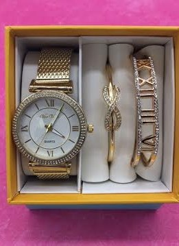Gold Roman Numeral Dial Watch And Bracelet Set
