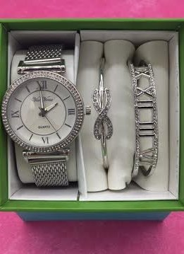 Silver Roman Numeral Dial Watch And Bracelet Set