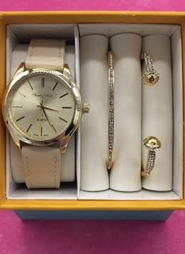 Simple Beige Faux Leather Band and Watch Set
