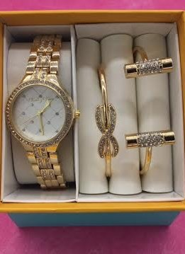 Crystal Bezel Accent Gold Watch and Bracelet Set