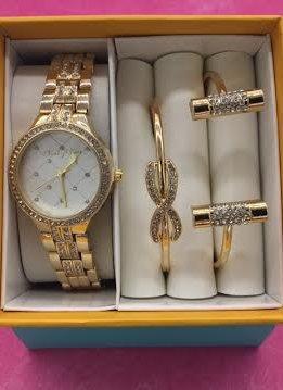 Crystal Bezel Accent Gold Watch and Bracelet Set