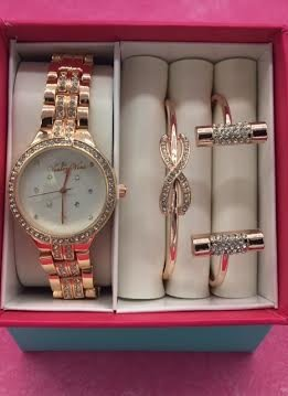 Crystal Bezel Accent Rose Gold Watch and Bracelet Set
