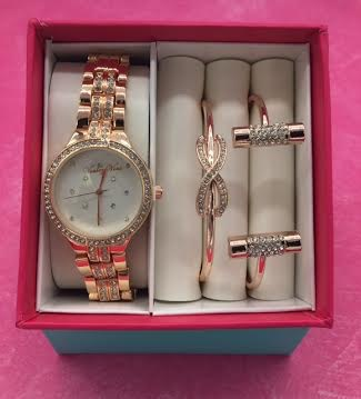 Crystal Bezel Accent Rose Gold Watch and Bracelet Set