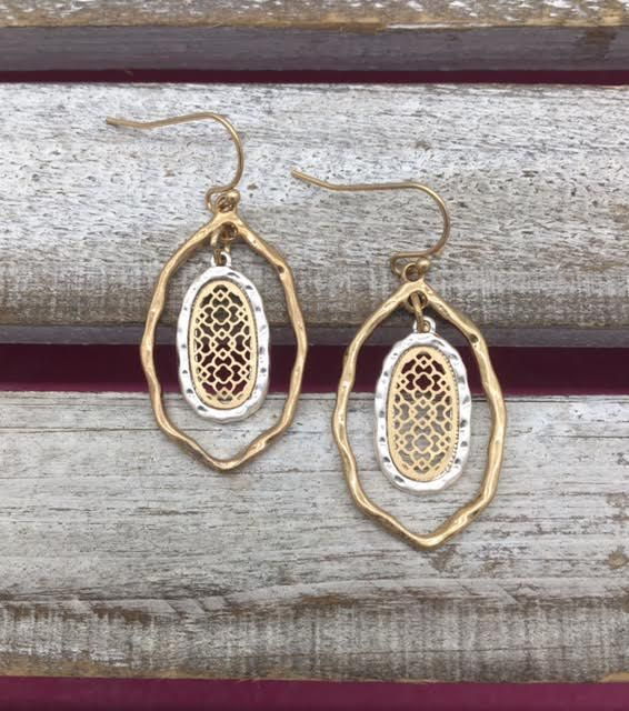 Gold and Silver Oval Layered Earrings