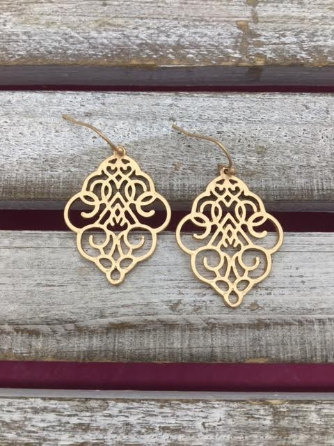 Gold Short Dangle Earrings