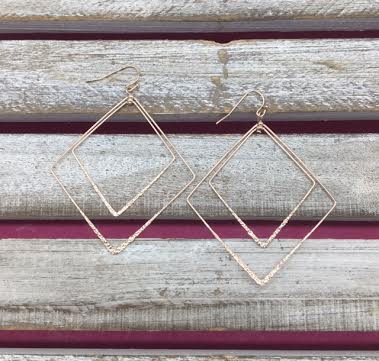 Rose Gold Double Layered Diamond Earrings