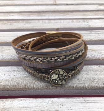 Gray and Brown Druzy Wrap Bracelet with Magnetic Closure