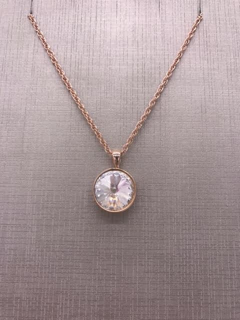Forever Crystals Rose Gold Pendant Bezel Rivoli Clear Crystal