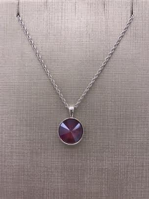 Forever Crystals Silver Pendant Bezel Rivoli Dark Red