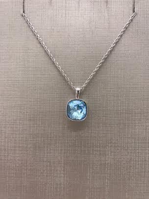 Forever Crystals Silver Bezeled Cushion Cut Aquamarine Pendant
