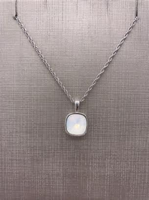 Forever Crystals Silver Bezeled Cushion Cut White Opal Pendant