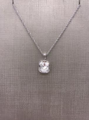 Forever Crystals Silver Bezeled Cushion Cut Clear Crystal Pendant