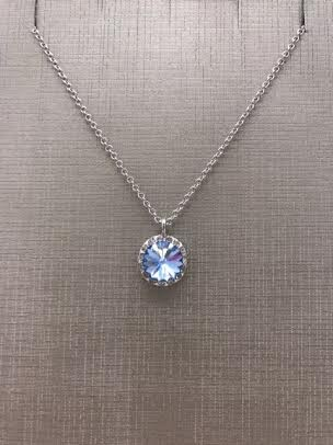 Forever Crystals Crystal Halo Rivoli Light Blue Sapphire Pendant