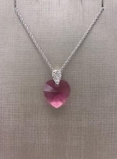 Forever Crystals Rose Swarovski Heart Pendant