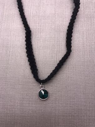 Forever Crystals Braided Rivoli Emerald Choker