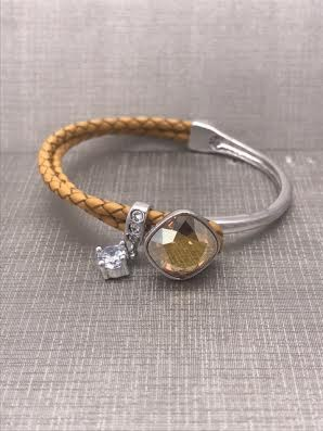 Forever Crystals Cushion Cut Golden Shadow and Tan Bracelet