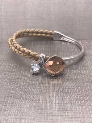Forever Crystals Cushion Cut Rose Gold and Beige Bracelet