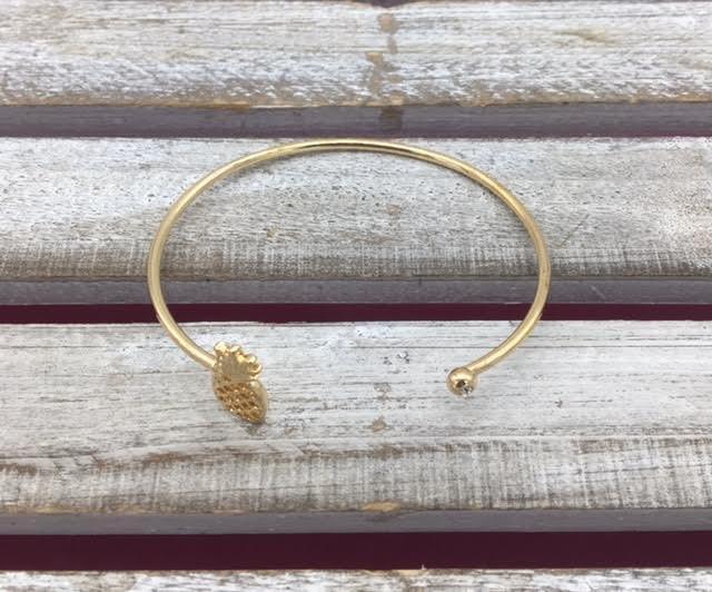 Gold Pineapple Bangle Bracelet with Rhinestone