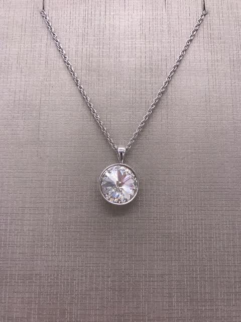 Forever Crystals Silver Pendant Bezel Rivoli Clear Crystal