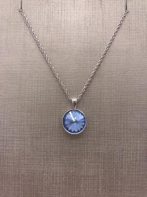 Forever Crystals Silver Pendant Bezel Rivoli Light Sapphire