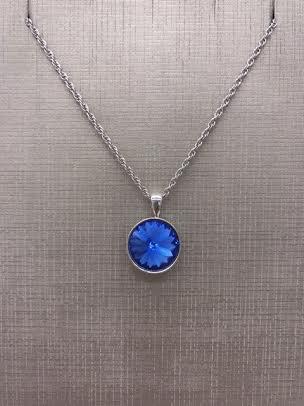 Forever Crystals Silver Pendant Bezel Rivoli Blue Sapphire