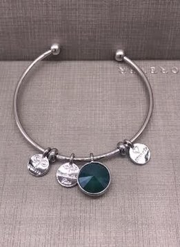 Forever Crystals Memoir Silver Open Bangle Green