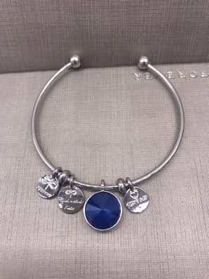Forever Crystals Memoir Silver Open Bangle Dark Blue
