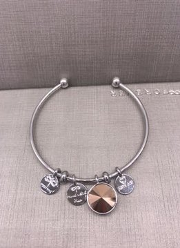 Forever Crystals Memoir Silver Open Bangle Rose Gold