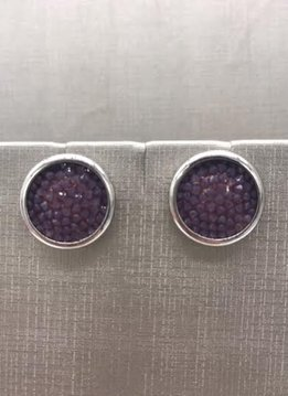 Forever Crystals Silver Constellation Stud Earrings Purple Crystal