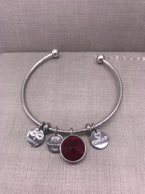Forever Crystals Memoir Silver Open Bangle Siam