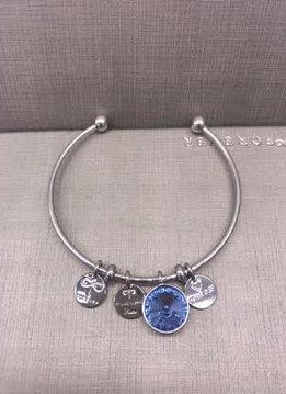 Forever Crystals Memoir Silver Open Bangle Light Blue Sapphire