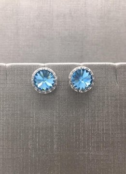 Forever Crystals Halo Aquamarine Earrings