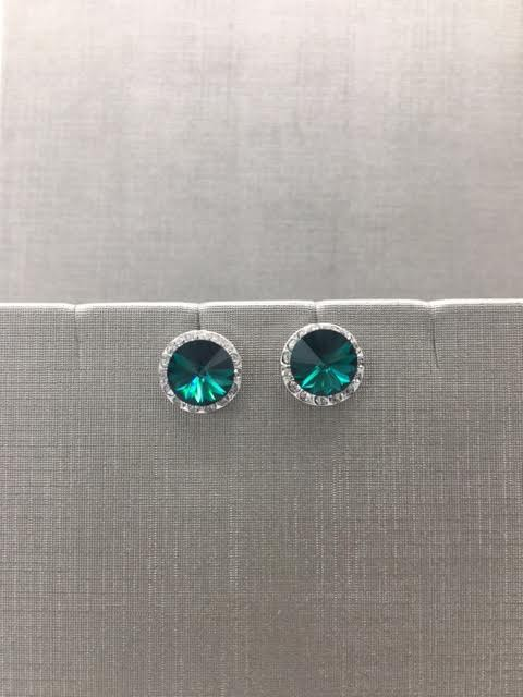 Forever Crystals Halo Emerald Earrings
