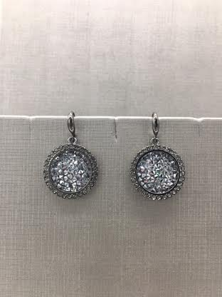 Forever Crystals Pewter Constellation Halo Clear Crystal Earrings